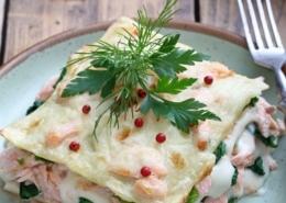 Lasagne vom Lachs, Spinat und Kartoffelschaum