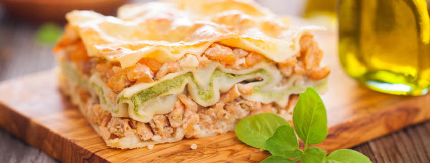 Spinat-Räucherlachs-Lasagne