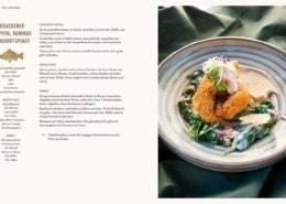 Gebackener Karpfen, Hummus und Joghurtspinat
